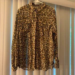 Sheer Old Navy leopard print blouse